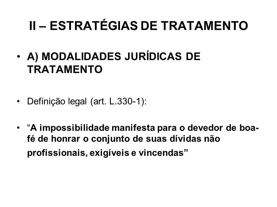 II – ESTRATÉGIAS DE TRATAMENTO A) MODALIDADES JURÍDICAS DE TRATAMENTO Definição legal (art. L.330-1): A impossibilidade manifesta para o devedor de bo
