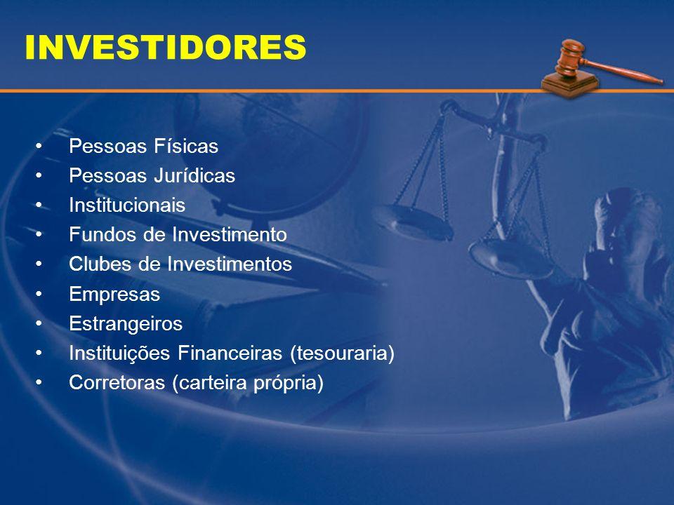 INVESTIDORES Pessoas Físicas Pessoas Jurídicas Institucionais Fundos de Investimento Clubes de Investimentos Empresas Estrangeiros Instituições Financ