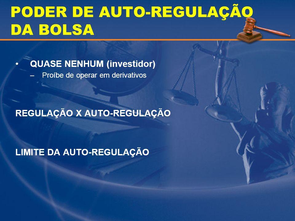 PODER DE AUTO-REGULAÇÃO DA BOLSA QUASE NENHUM (investidor) –Proíbe de operar em derivativos REGULAÇÃO X AUTO-REGULAÇÃO LIMITE DA AUTO-REGULAÇÃO