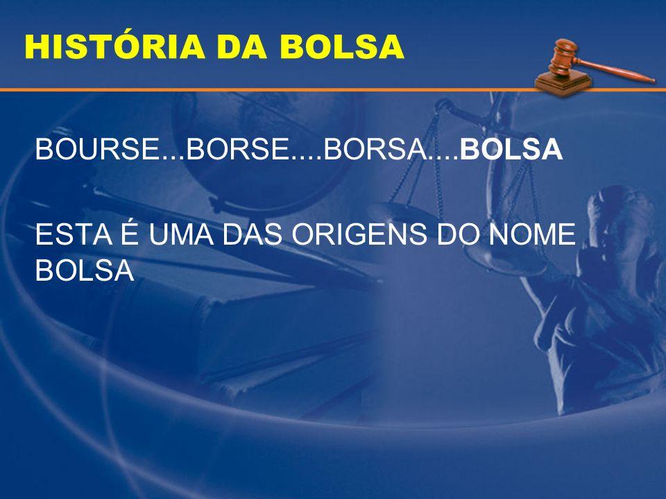 HISTÓRIA DA BOLSA O TERMO BOLSA TEM VÁRIAS SIGNIFICAÇÕES NO MUNDO JURÍDICO: REUNIÃO DE CORRETORES PARA FAZER NEGÓCIOS LUGAR ONDE SE REALIZA ESTA REUNIÃO CONJUNTO DE NEGÓCIOS FECHADOS EM UMA SESSÃO PRAÇA DE COMÉRCIO BOLSA = MERCADO