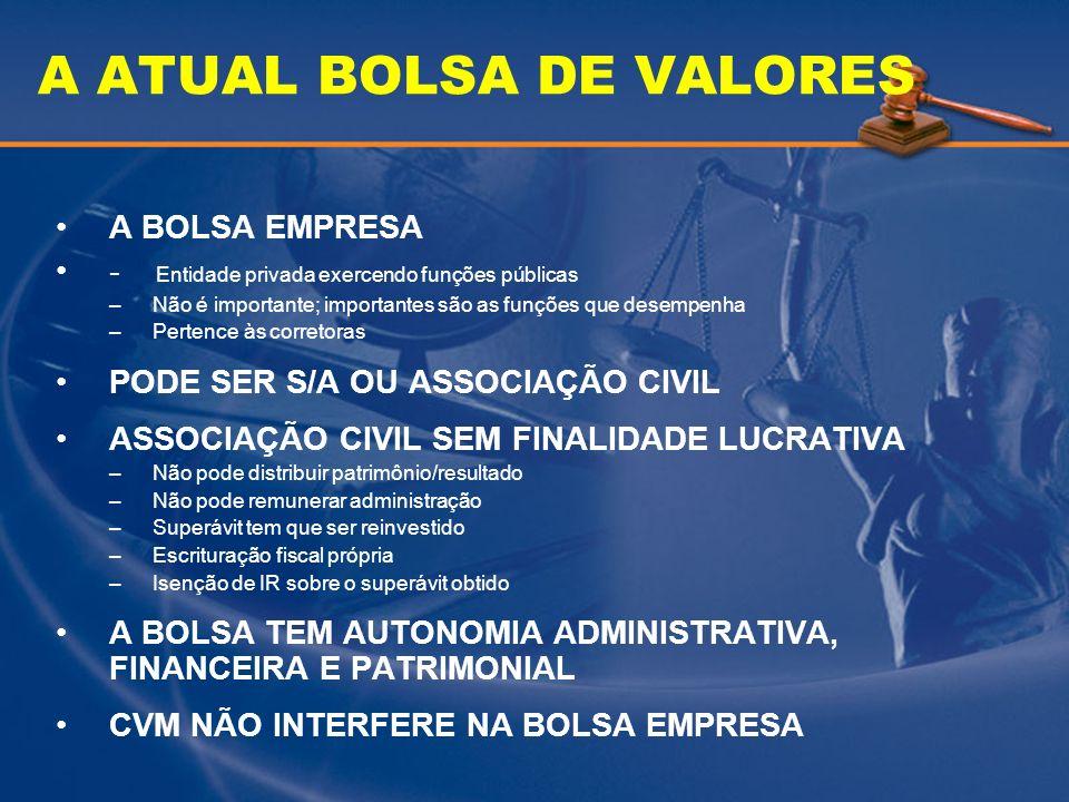 A ATUAL BOLSA DE VALORES A BOLSA EMPRESA - Entidade privada exercendo funções públicas –Não é importante; importantes são as funções que desempenha –P