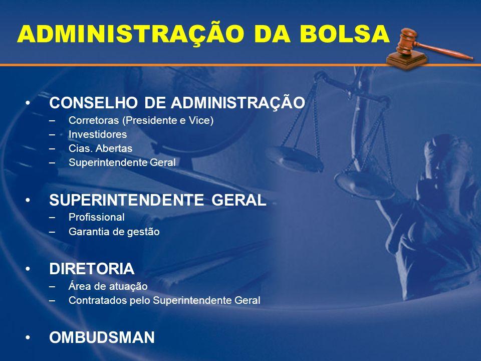 ADMINISTRAÇÃO DA BOLSA CONSELHO DE ADMINISTRAÇÃO –Corretoras (Presidente e Vice) –Investidores –Cias. Abertas –Superintendente Geral SUPERINTENDENTE G
