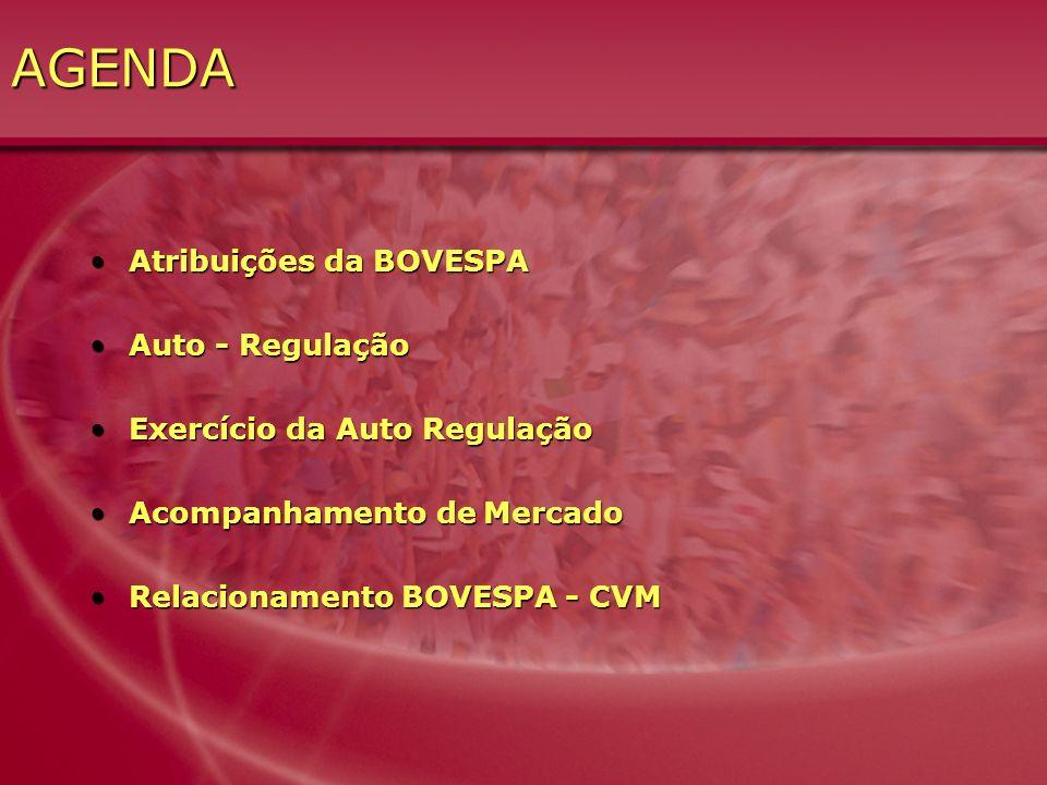 AGENDA Atribuições da BOVESPAAtribuições da BOVESPA Auto - RegulaçãoAuto - Regulação Exercício da Auto RegulaçãoExercício da Auto Regulação Acompanham