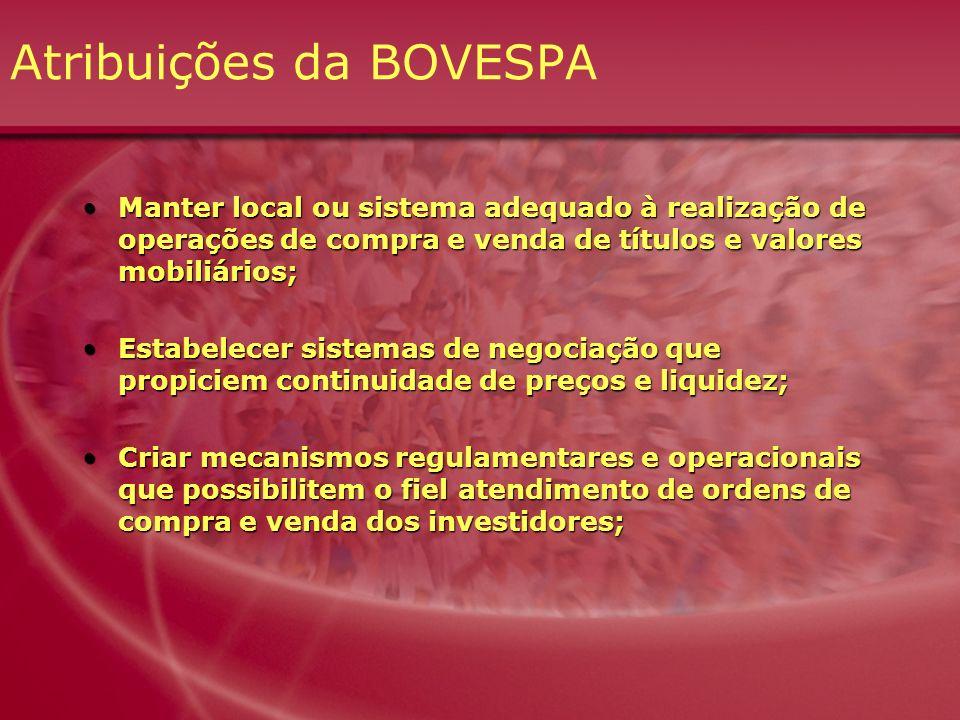 Atribuições da BOVESPA Manter local ou sistema adequado à realização de operações de compra e venda de títulos e valores mobiliários;Manter local ou s