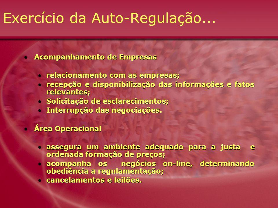 Exercício da Auto-Regulação... Acompanhamento de EmpresasAcompanhamento de Empresas relacionamento com as empresas;relacionamento com as empresas; rec
