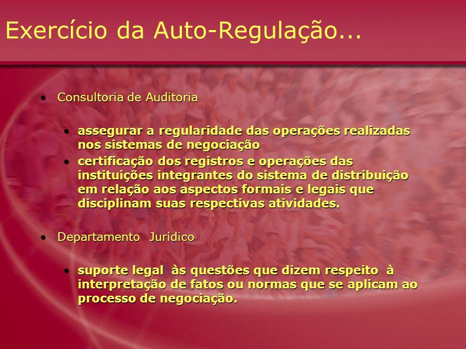 Exercício da Auto-Regulação... Consultoria de AuditoriaConsultoria de Auditoria assegurar a regularidade das operações realizadas nos sistemas de nego
