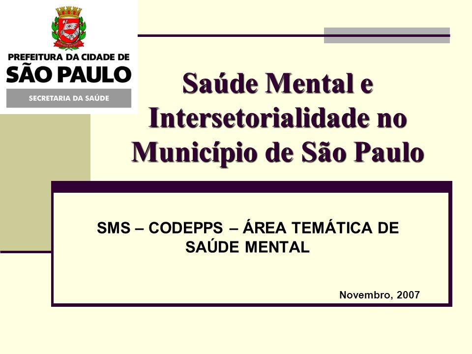 Saúde Mental e Intersetorialidade no Município de São Paulo SMS – CODEPPS – ÁREA TEMÁTICA DE SAÚDE MENTAL Novembro, 2007