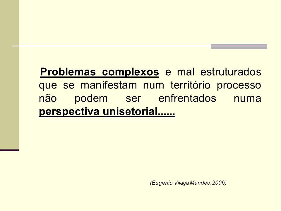 Problemas complexos perspectiva unisetorial...... Problemas complexos e mal estruturados que se manifestam num território processo não podem ser enfre