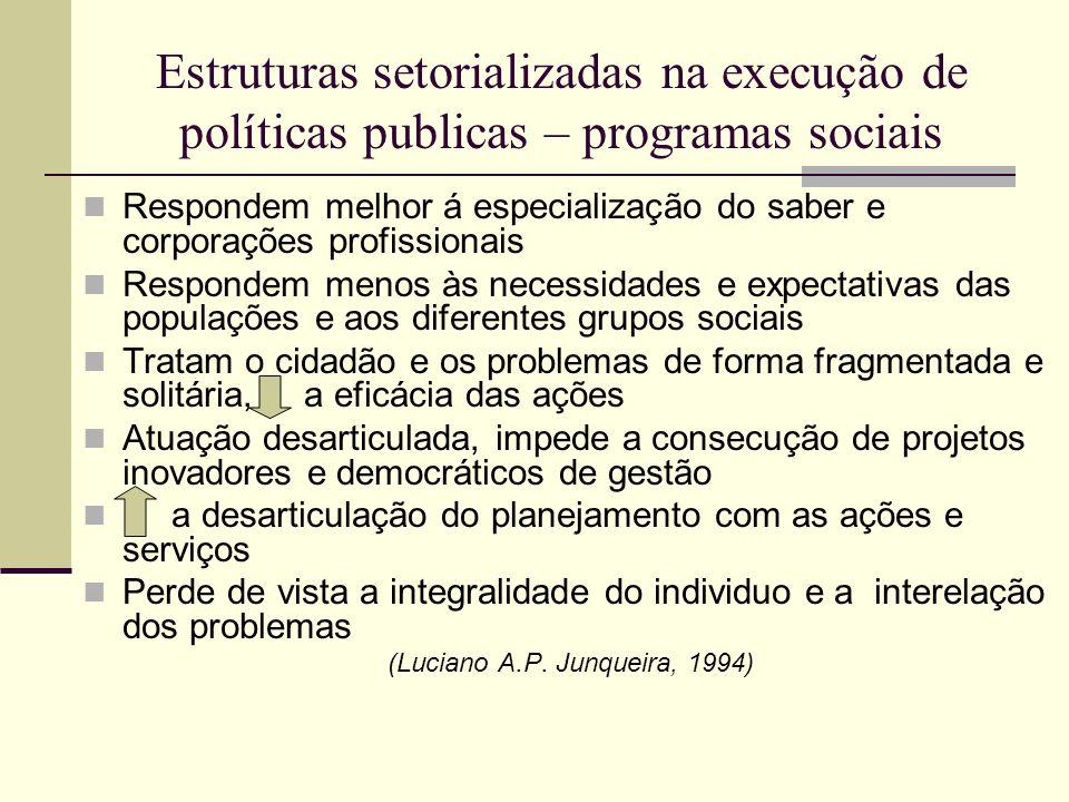 Estruturas setorializadas na execução de políticas publicas – programas sociais Respondem melhor á especialização do saber e corporações profissionais