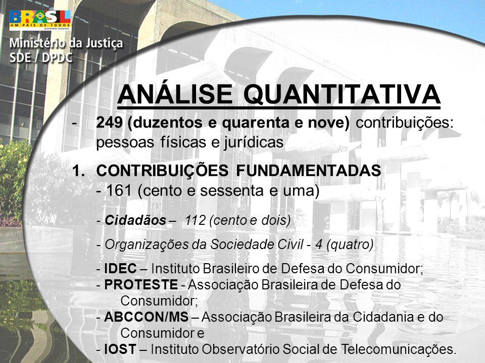 ANÁLISE QUANTITATIVA -249 (duzentos e quarenta e nove) contribuições: pessoas físicas e jurídicas 1.CONTRIBUIÇÕES FUNDAMENTADAS - 161 (cento e sessenta e uma) - Cidadãos – 112 (cento e dois) - Organizações da Sociedade Civil - 4 (quatro) - IDEC – Instituto Brasileiro de Defesa do Consumidor; - PROTESTE - Associação Brasileira de Defesa do Consumidor; - ABCCON/MS – Associação Brasileira da Cidadania e do Consumidor e - IOST – Instituto Observatório Social de Telecomunicações.