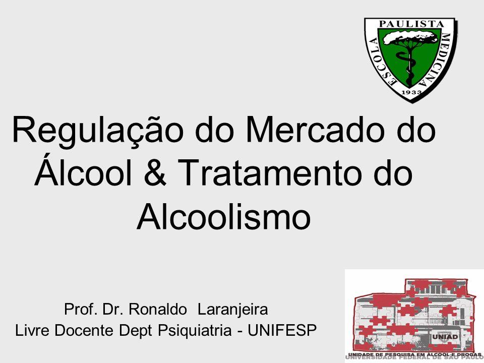 Regulação do Mercado do Álcool & Tratamento do Alcoolismo Prof. Dr. Ronaldo Laranjeira Livre Docente Dept Psiquiatria - UNIFESP