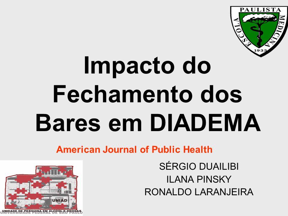 Impacto do Fechamento dos Bares em DIADEMA SÉRGIO DUAILIBI ILANA PINSKY RONALDO LARANJEIRA American Journal of Public Health