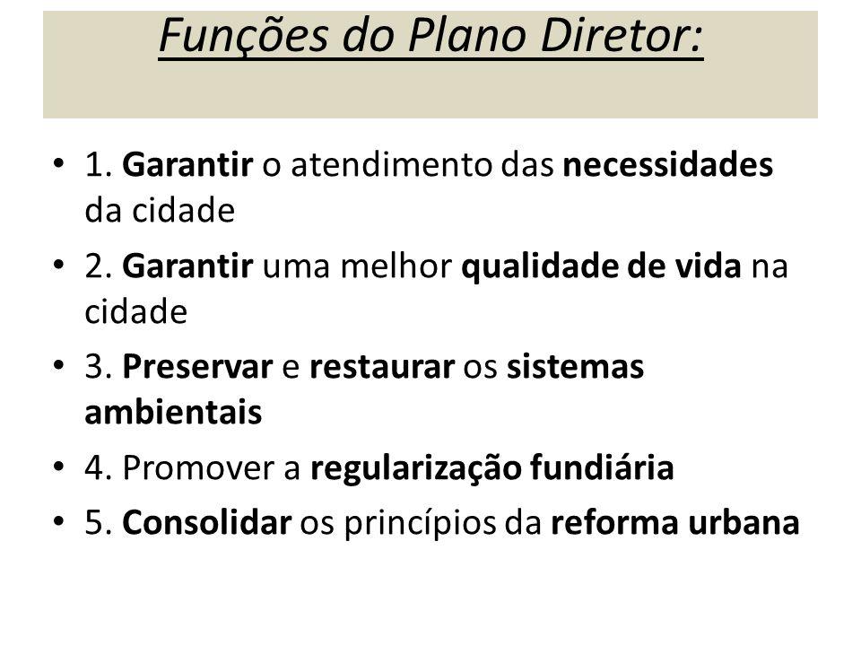 Funções do Plano Diretor: 1. Garantir o atendimento das necessidades da cidade 2. Garantir uma melhor qualidade de vida na cidade 3. Preservar e resta