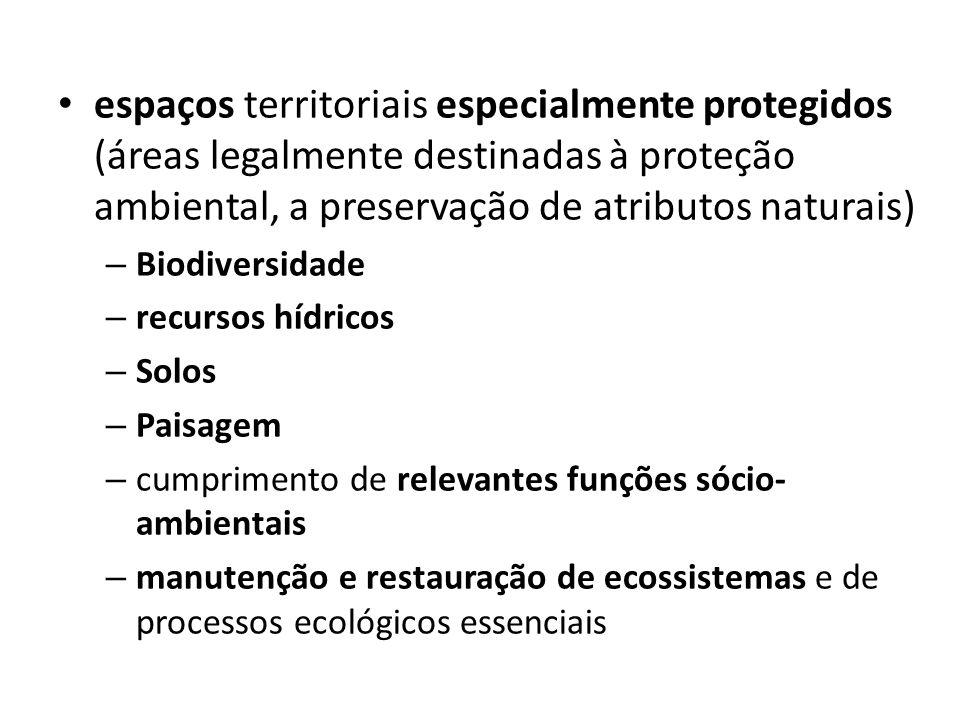 espaços territoriais especialmente protegidos (áreas legalmente destinadas à proteção ambiental, a preservação de atributos naturais) – Biodiversidade
