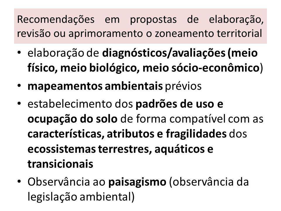 Recomendações em propostas de elaboração, revisão ou aprimoramento o zoneamento territorial elaboração de diagnósticos/avaliações (meio físico, meio b