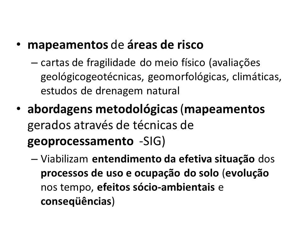 mapeamentos de áreas de risco – cartas de fragilidade do meio físico (avaliações geológicogeotécnicas, geomorfológicas, climáticas, estudos de drenag