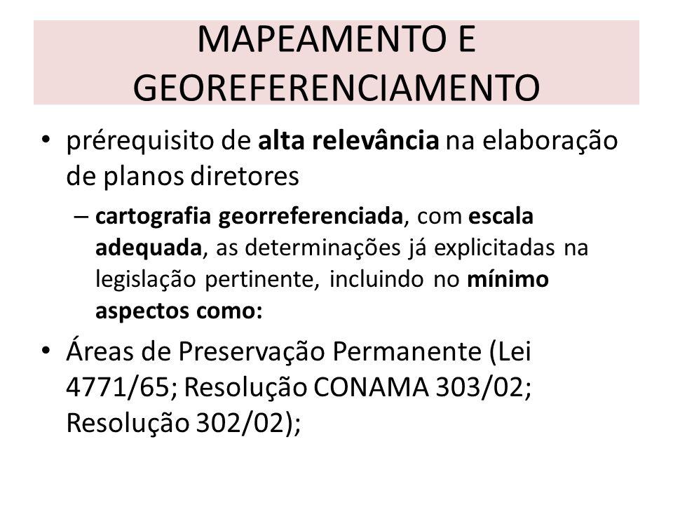 MAPEAMENTO E GEOREFERENCIAMENTO prérequisito de alta relevância na elaboração de planos diretores – cartografia georreferenciada, com escala adequada