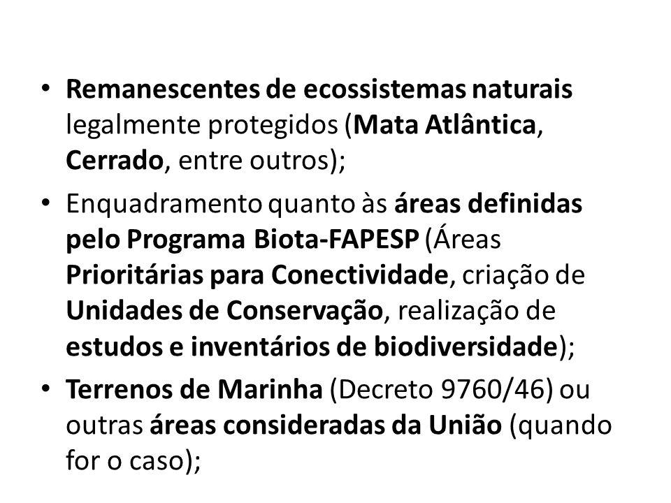 Remanescentes de ecossistemas naturais legalmente protegidos (Mata Atlântica, Cerrado, entre outros); Enquadramento quanto às áreas definidas pelo Pro