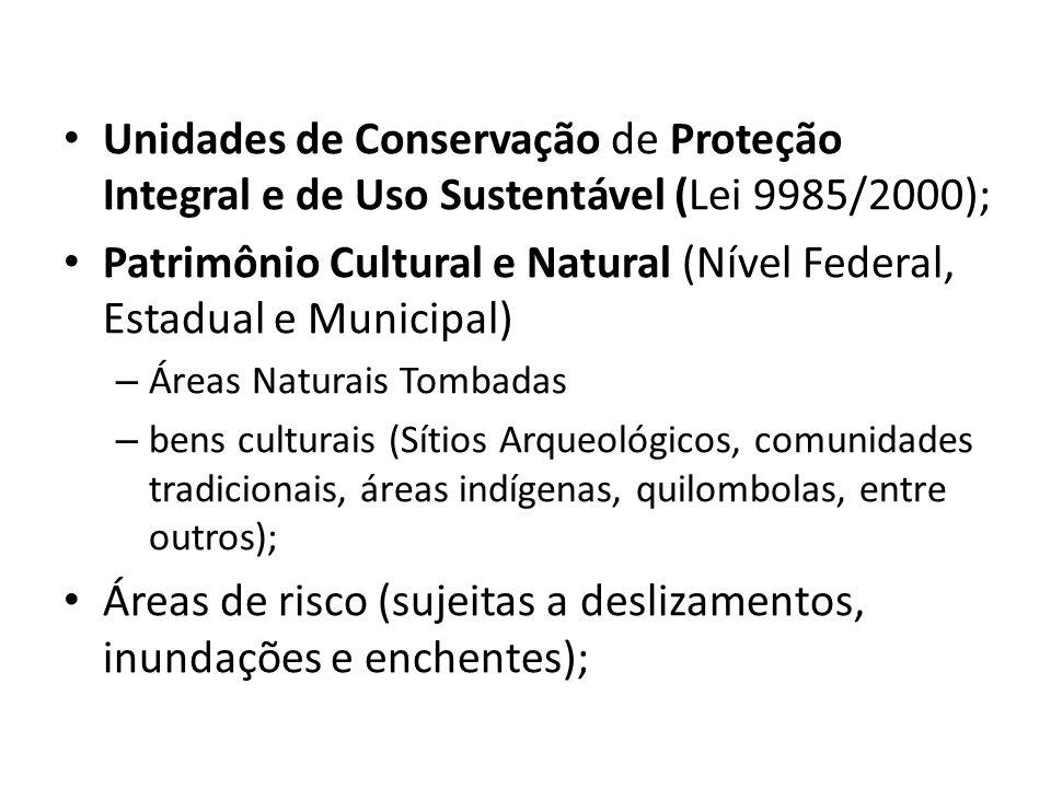 Unidades de Conservação de Proteção Integral e de Uso Sustentável (Lei 9985/2000); Patrimônio Cultural e Natural (Nível Federal, Estadual e Municipal)