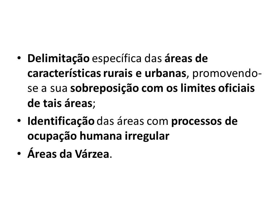 Delimitação específica das áreas de características rurais e urbanas, promovendo- se a sua sobreposição com os limites oficiais de tais áreas; Identif