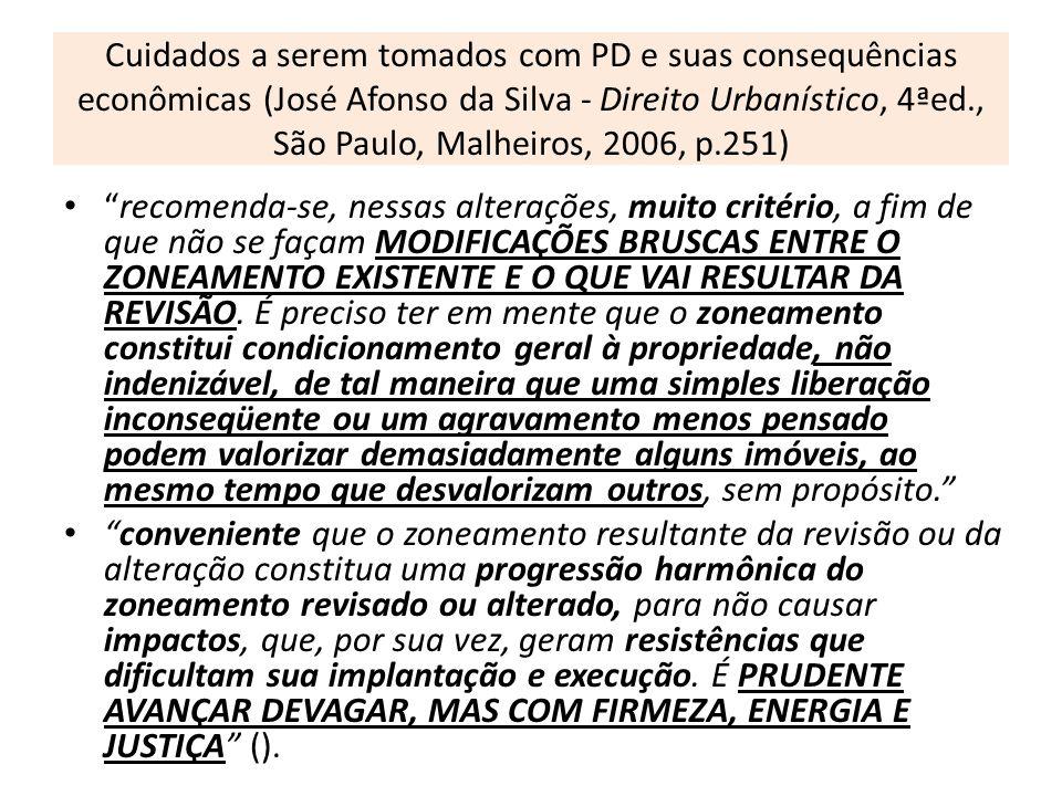 Cuidados a serem tomados com PD e suas consequências econômicas (José Afonso da Silva - Direito Urbanístico, 4ªed., São Paulo, Malheiros, 2006, p.251)