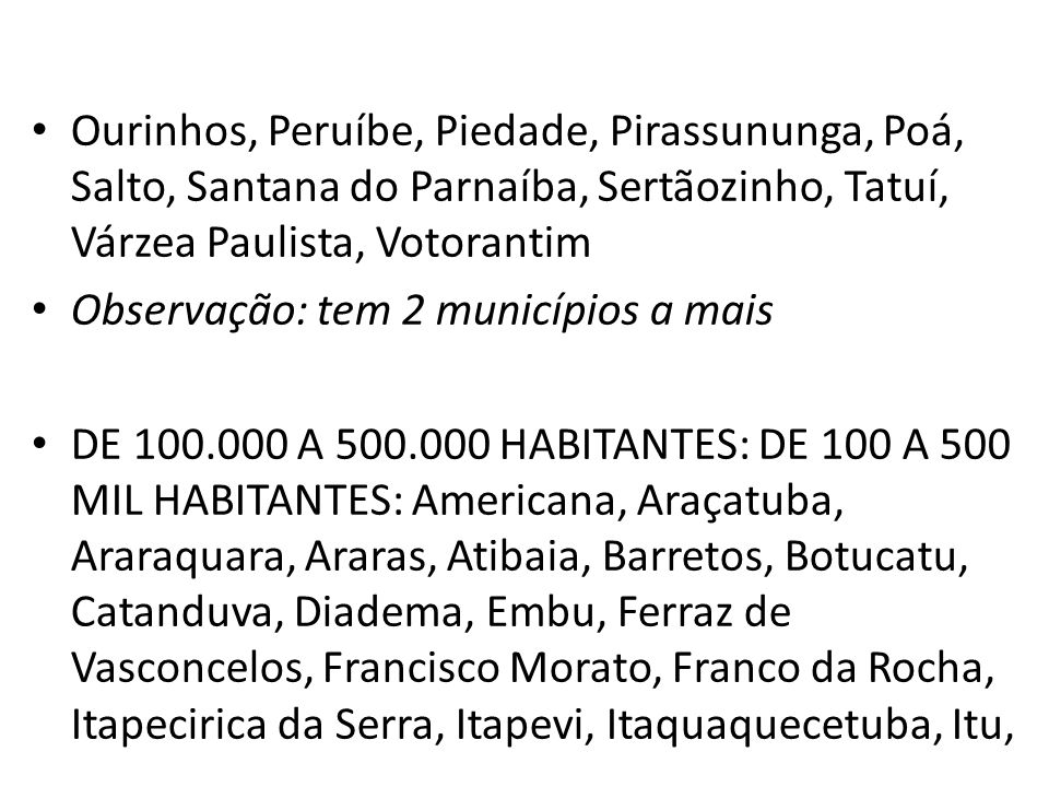 Ourinhos, Peruíbe, Piedade, Pirassununga, Poá, Salto, Santana do Parnaíba, Sertãozinho, Tatuí, Várzea Paulista, Votorantim Observação: tem 2 município