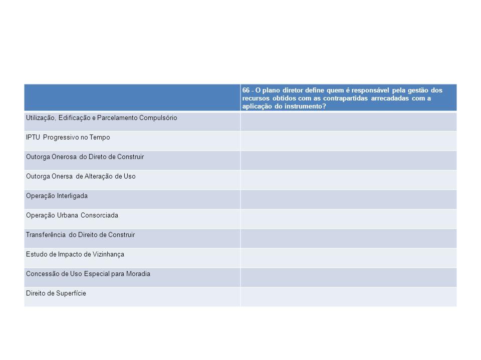 66 - O plano diretor define quem é responsável pela gestão dos recursos obtidos com as contrapartidas arrecadadas com a aplicação do instrumento? Util