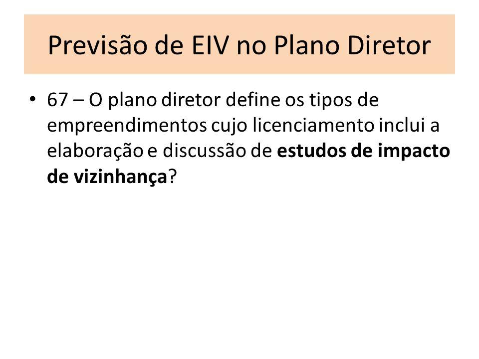 Previsão de EIV no Plano Diretor 67 – O plano diretor define os tipos de empreendimentos cujo licenciamento inclui a elaboração e discussão de estudos