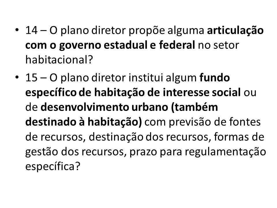 14 – O plano diretor propõe alguma articulação com o governo estadual e federal no setor habitacional? 15 – O plano diretor institui algum fundo espec