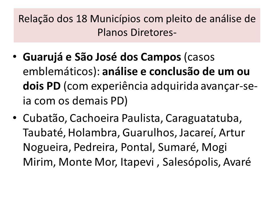 Relação dos 18 Municípios com pleito de análise de Planos Diretores- Guarujá e São José dos Campos (casos emblemáticos): análise e conclusão de um ou