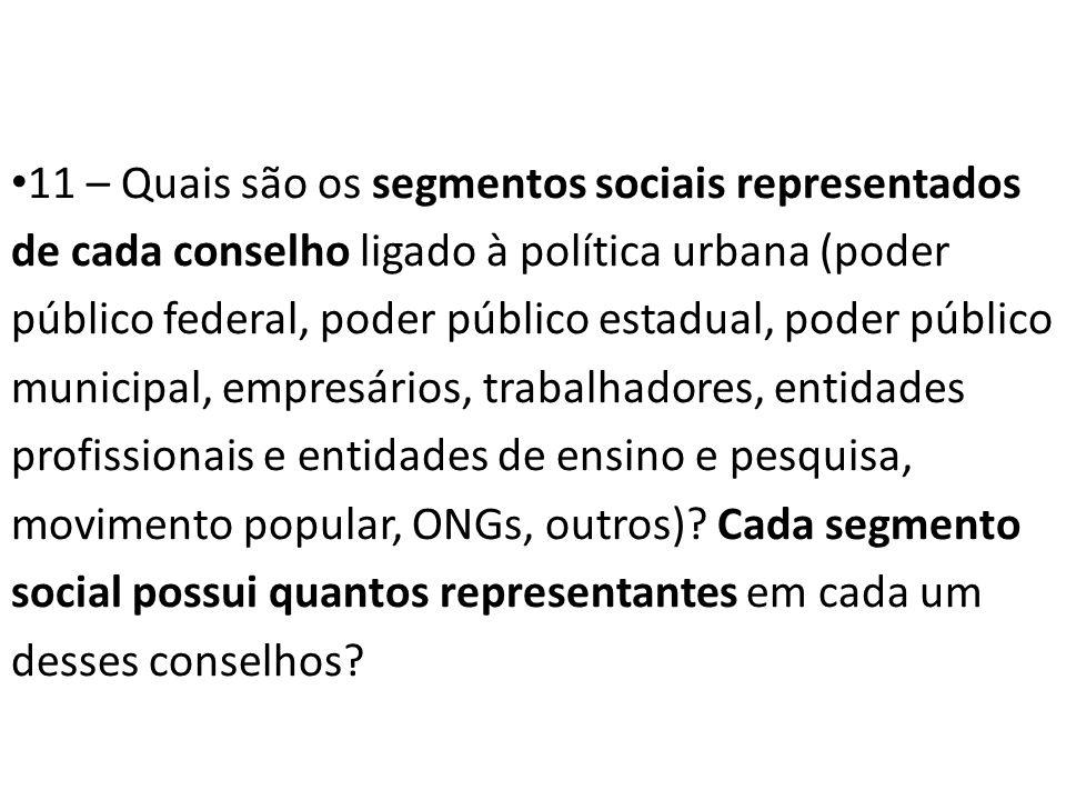 11 – Quais são os segmentos sociais representados de cada conselho ligado à política urbana (poder público federal, poder público estadual, poder públ