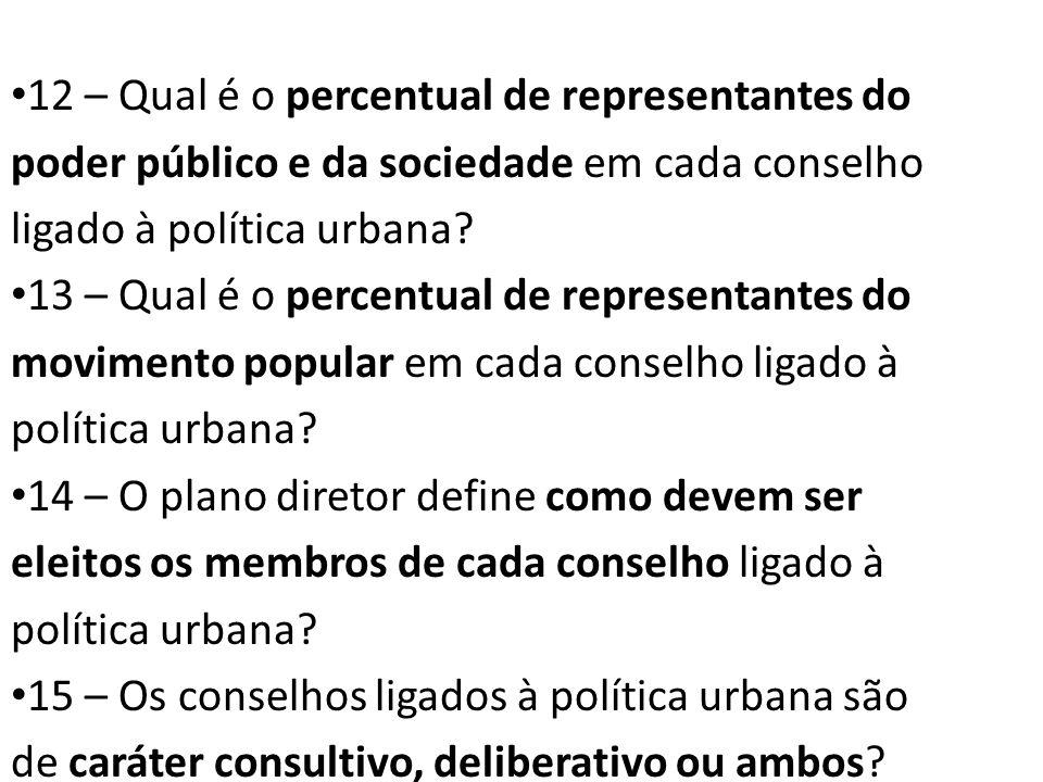 12 – Qual é o percentual de representantes do poder público e da sociedade em cada conselho ligado à política urbana? 13 – Qual é o percentual de repr