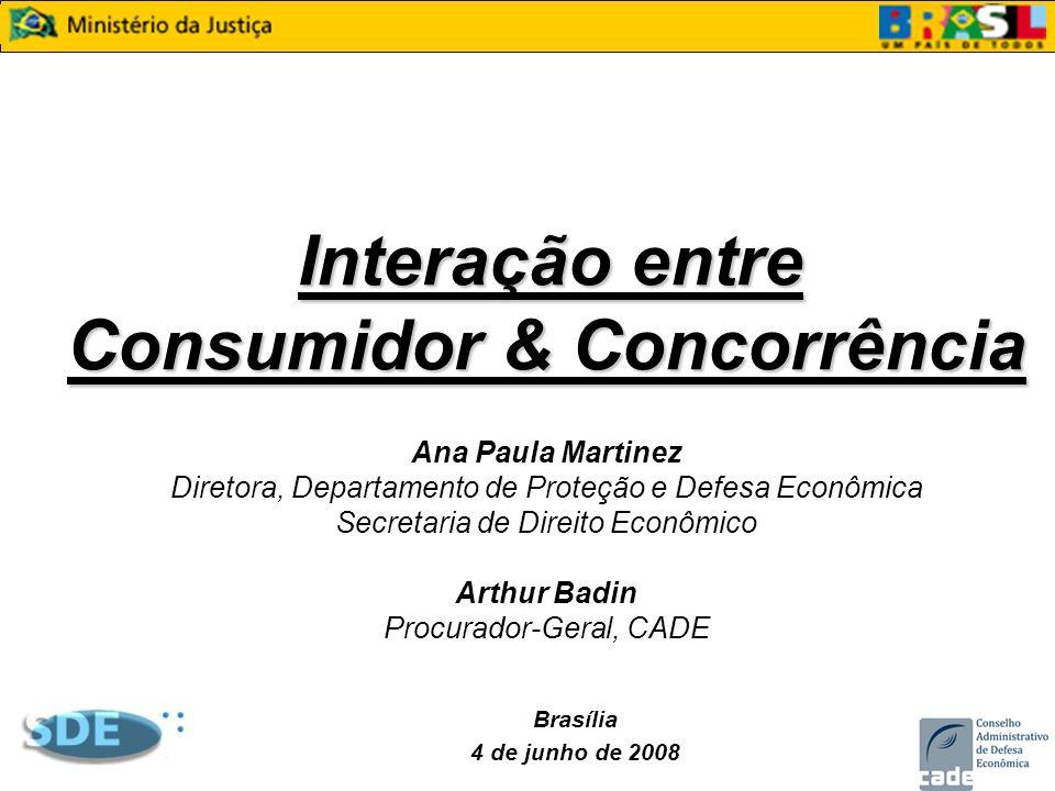 Interação entre Consumidor & Concorrência Interação entre Consumidor & Concorrência Ana Paula Martinez Diretora, Departamento de Proteção e Defesa Eco