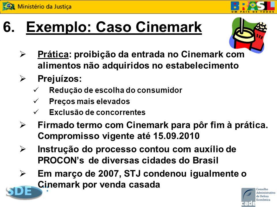 6.Exemplo: Caso Cinemark Prática: proibição da entrada no Cinemark com alimentos não adquiridos no estabelecimento Prejuízos: Redução de escolha do co