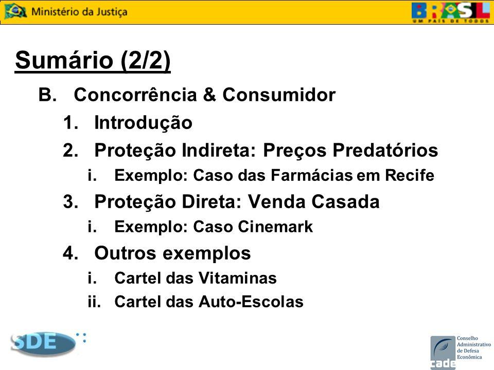 Sumário (2/2) B.Concorrência & Consumidor 1.Introdução 2.Proteção Indireta: Preços Predatórios i.Exemplo: Caso das Farmácias em Recife 3.Proteção Dire