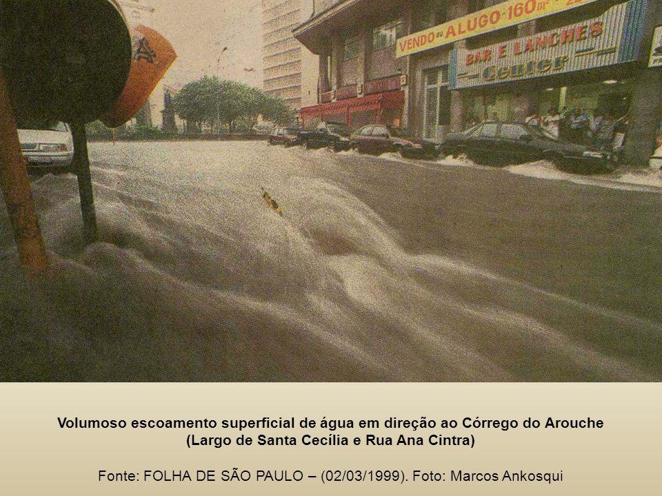Volumoso escoamento superficial de água em direção ao Córrego do Arouche (Largo de Santa Cecília e Rua Ana Cintra) Fonte: FOLHA DE SÃO PAULO – (02/03/1999).