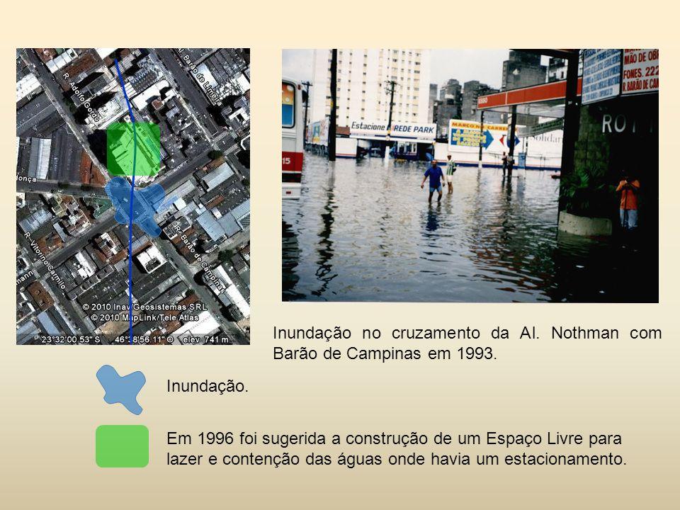 Em 1996 foi sugerida a construção de um Espaço Livre para lazer e contenção das águas onde havia um estacionamento.