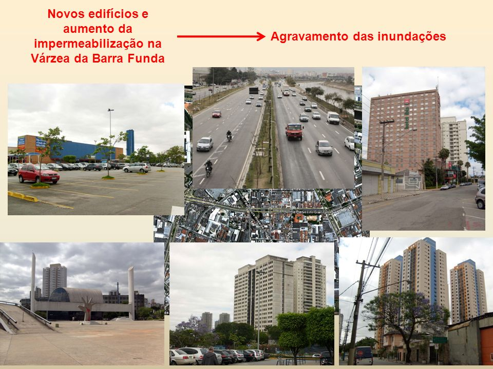 Novos edifícios e aumento da impermeabilização na Várzea da Barra Funda Agravamento das inundações