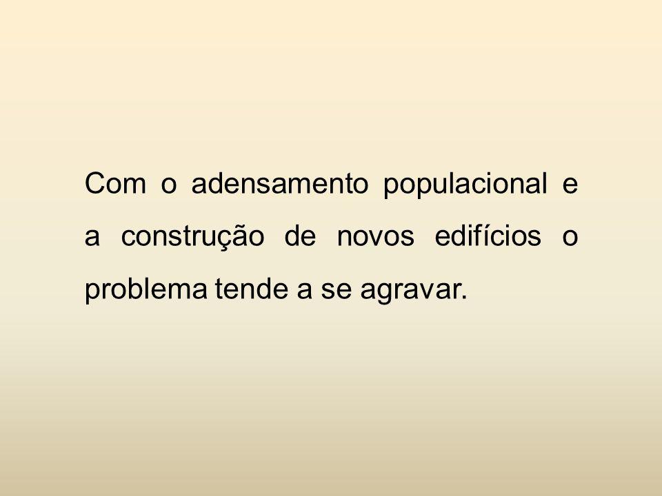 Com o adensamento populacional e a construção de novos edifícios o problema tende a se agravar.