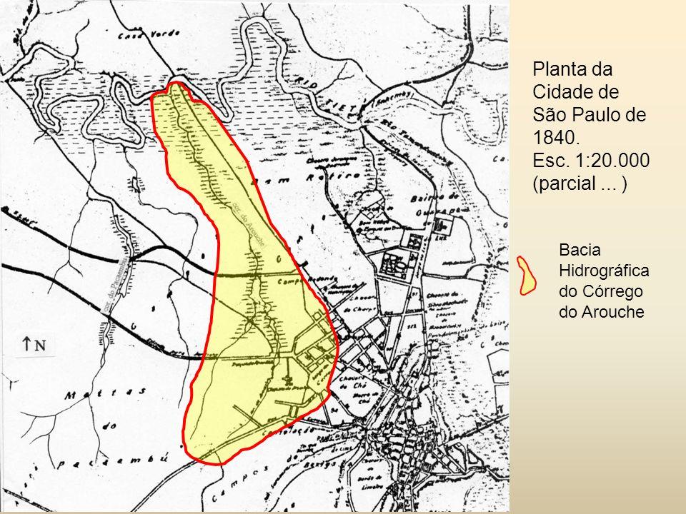 Bacia Hidrográfica do Córrego do Arouche Planta da Cidade de São Paulo de 1840.