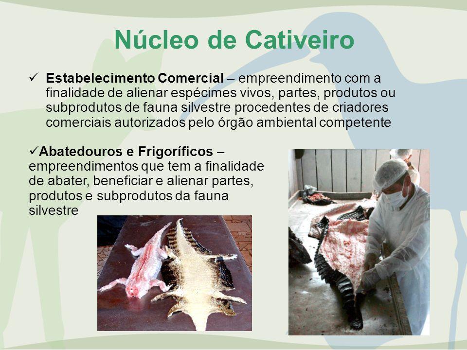 Núcleo de Cativeiro Estabelecimento Comercial – empreendimento com a finalidade de alienar espécimes vivos, partes, produtos ou subprodutos de fauna s