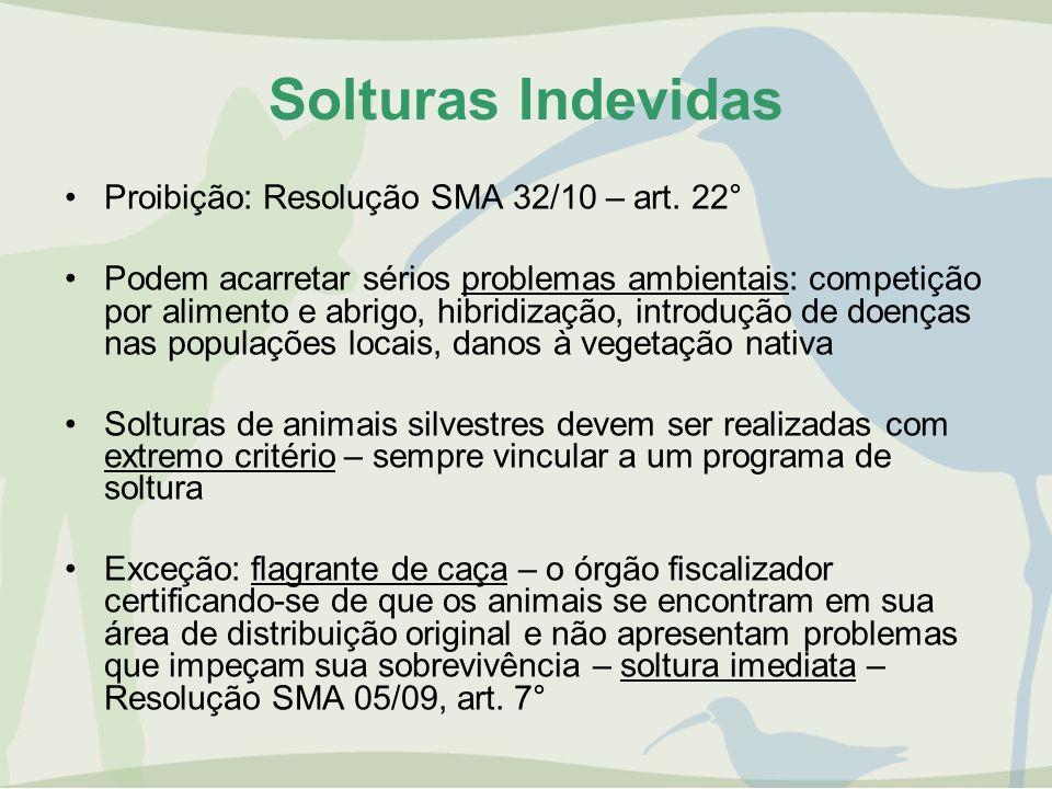 Solturas Indevidas Proibição: Resolução SMA 32/10 – art. 22° Podem acarretar sérios problemas ambientais: competição por alimento e abrigo, hibridizaç