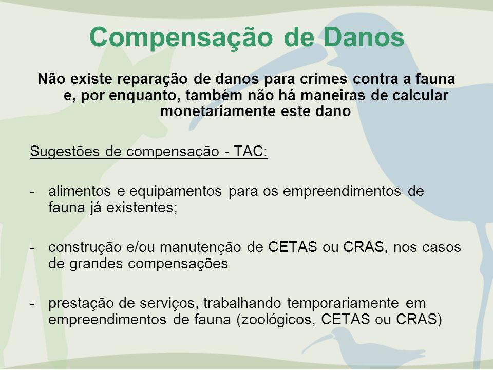 Compensação de Danos Não existe reparação de danos para crimes contra a fauna e, por enquanto, também não há maneiras de calcular monetariamente este