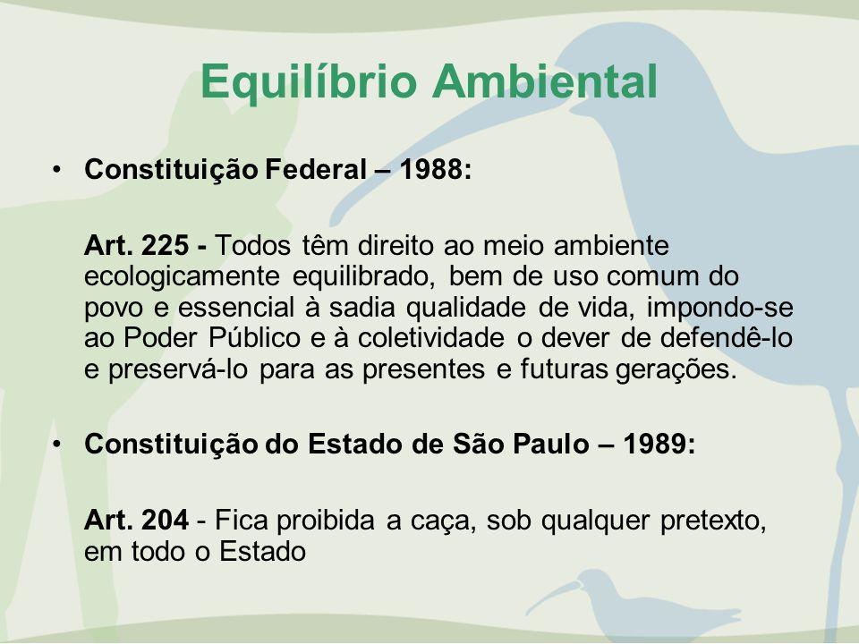Equilíbrio Ambiental Constituição Federal – 1988: Art. 225 - Todos têm direito ao meio ambiente ecologicamente equilibrado, bem de uso comum do povo e