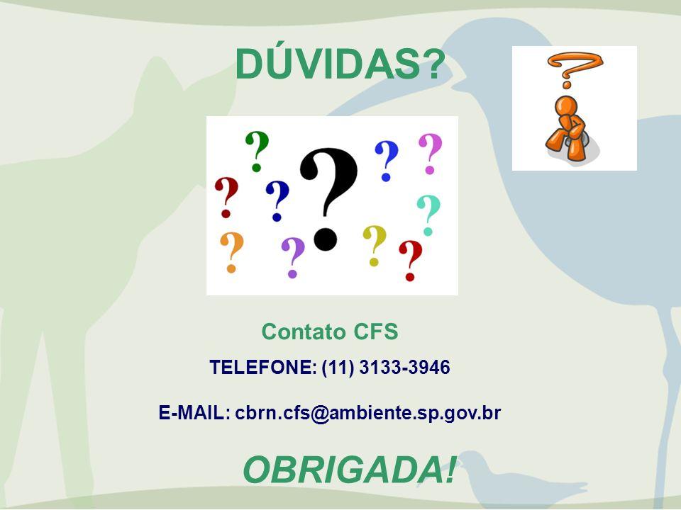 DÚVIDAS? Contato CFS TELEFONE: (11) 3133-3946 E-MAIL: cbrn.cfs@ambiente.sp.gov.br OBRIGADA!