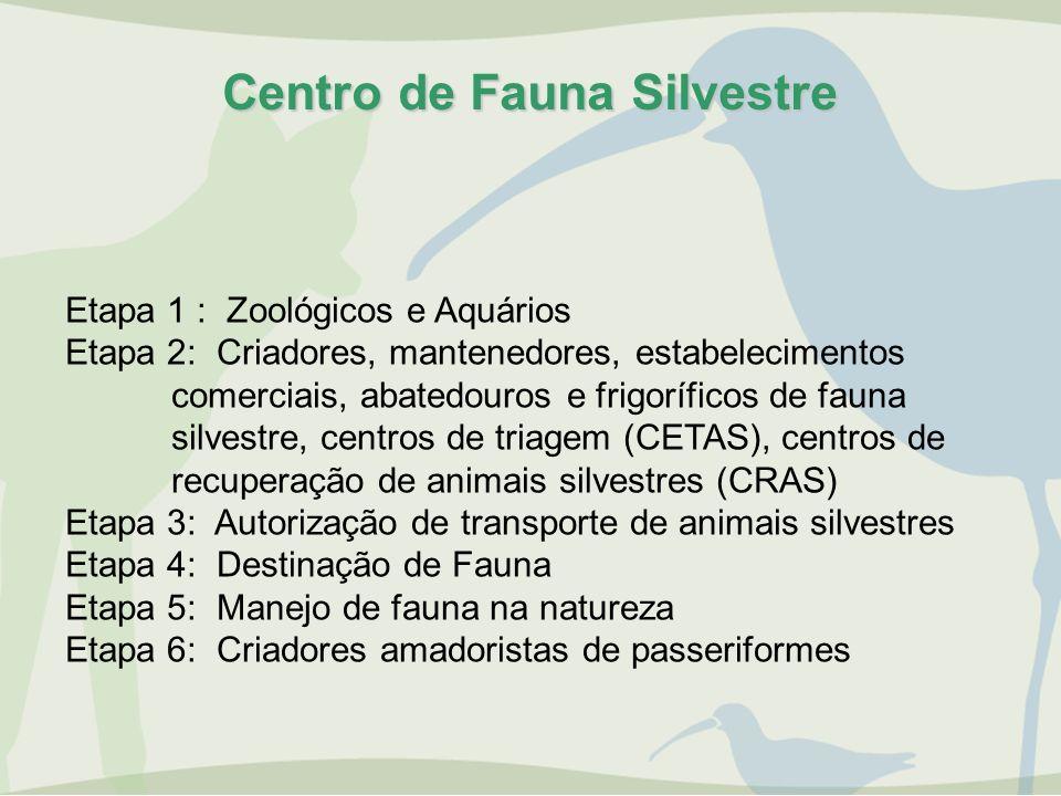 Centro de Fauna Silvestre Etapa 1 : Zoológicos e Aquários Etapa 2: Criadores, mantenedores, estabelecimentos comerciais, abatedouros e frigoríficos de
