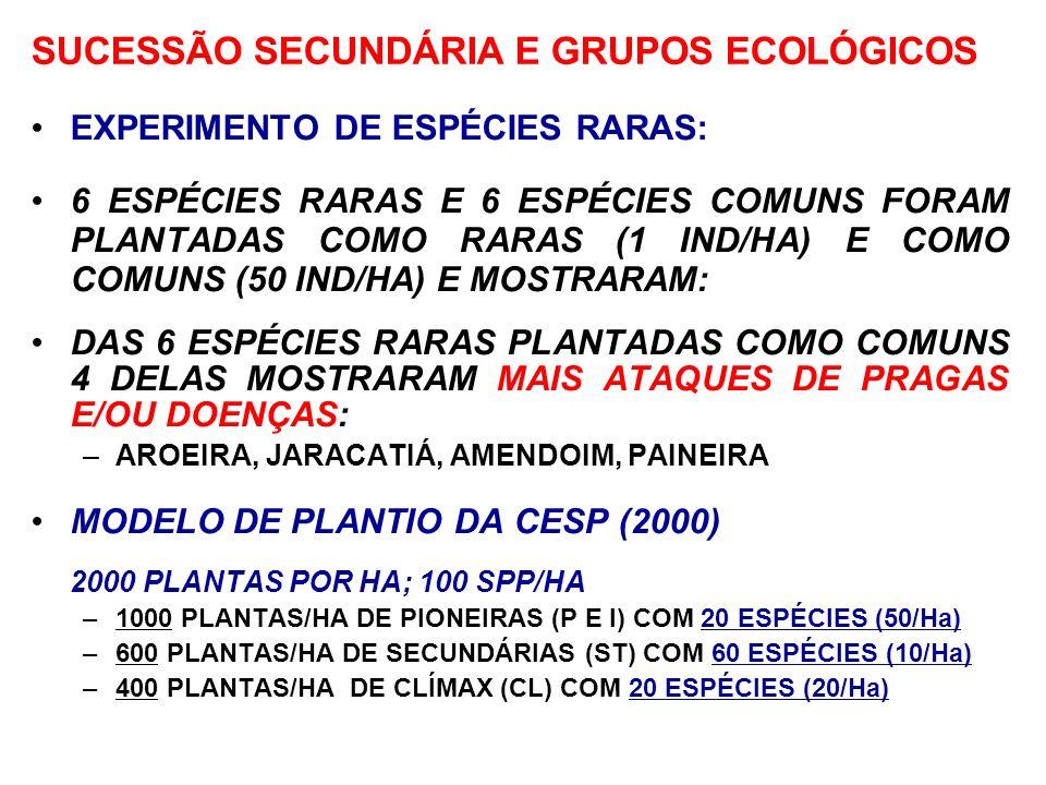 MODELO DE PLANTIO SEGUNDO A SUCESSÃO E RESPEITANDO A RARIDADE DAS ESPÉCIES EXPERIMENTO DE ESPÉCIES RARAS: 6 ESPÉCIES RARAS E 6 ESPÉCIES COMUNS FORAM P