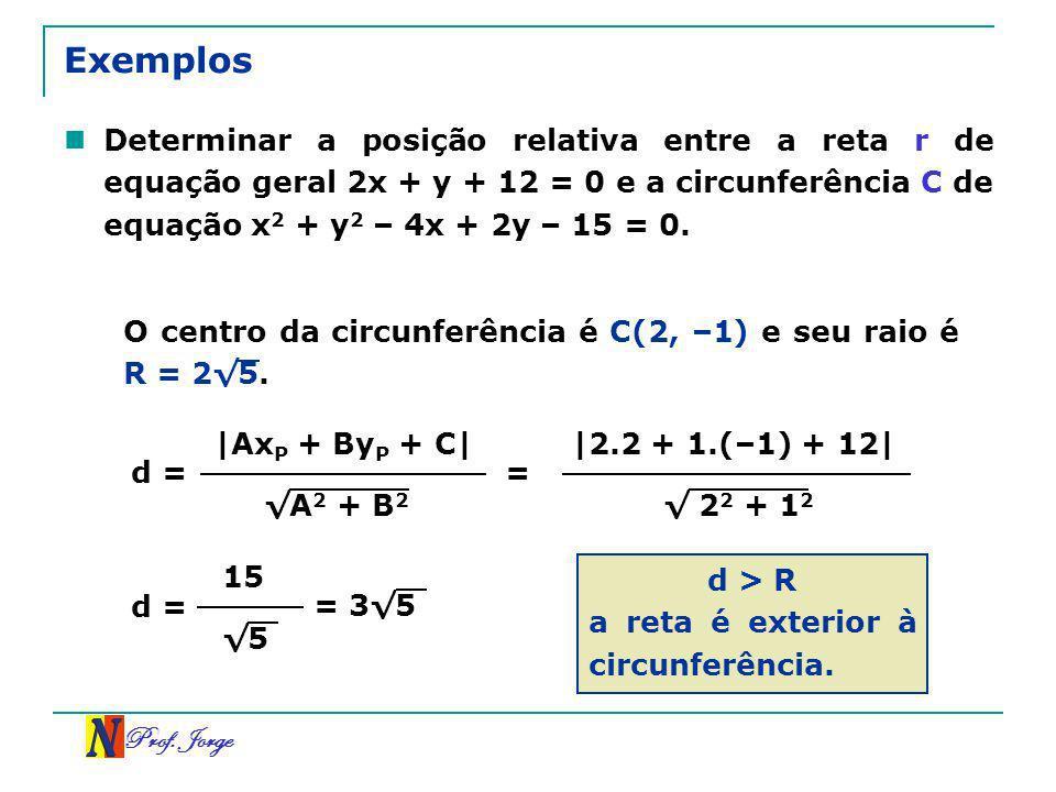 Prof. Jorge Exemplos Determinar a posição relativa entre a reta r de equação geral 2x + y + 12 = 0 e a circunferência C de equação x 2 + y 2 – 4x + 2y