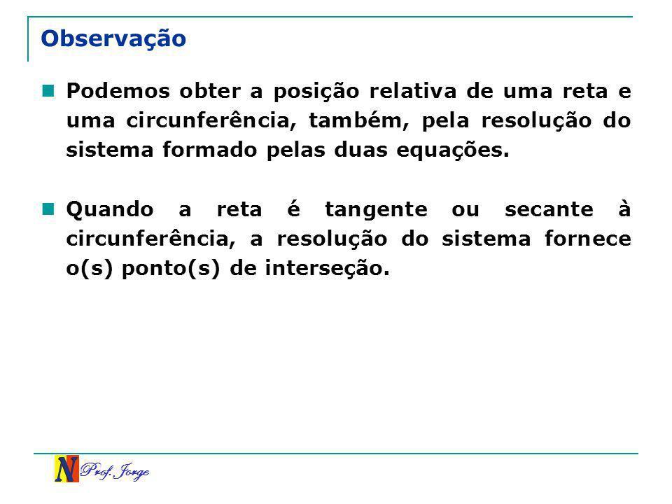Prof. Jorge Observação Podemos obter a posição relativa de uma reta e uma circunferência, também, pela resolução do sistema formado pelas duas equaçõe