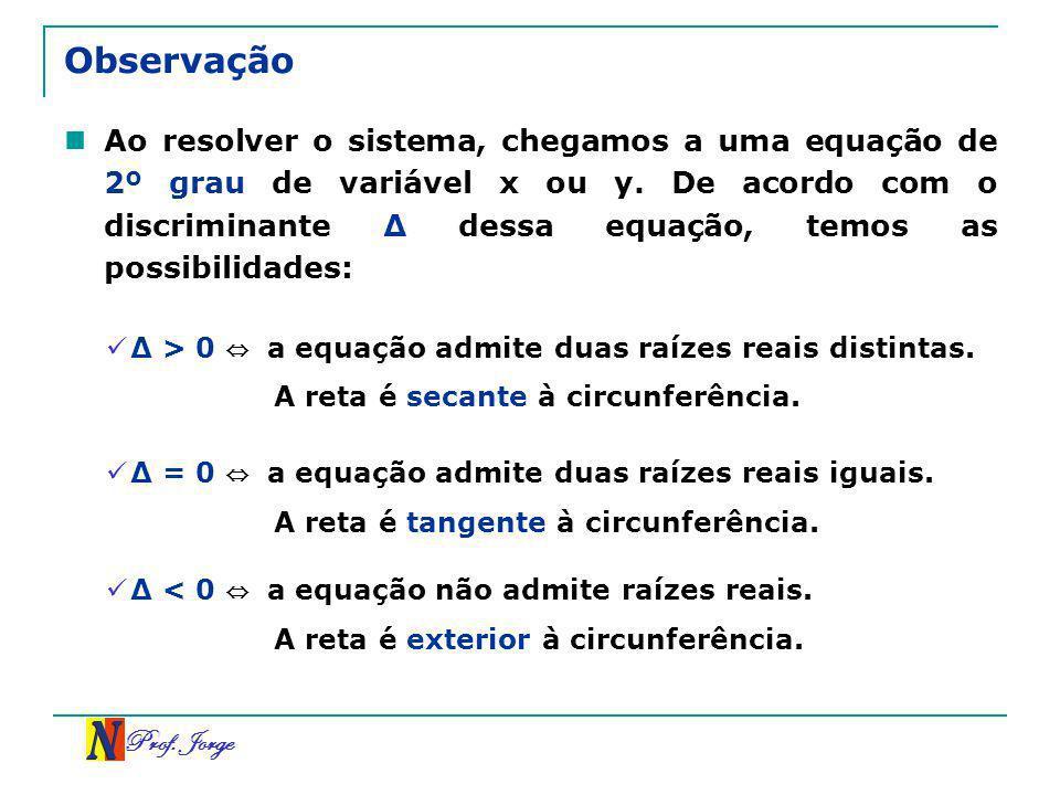 Prof. Jorge Observação Ao resolver o sistema, chegamos a uma equação de 2º grau de variável x ou y. De acordo com o discriminante dessa equação, temos